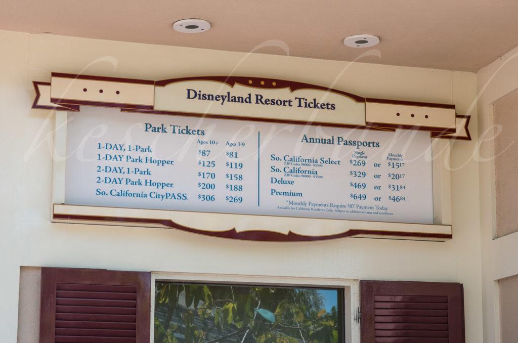 Disneyland - Preistafel